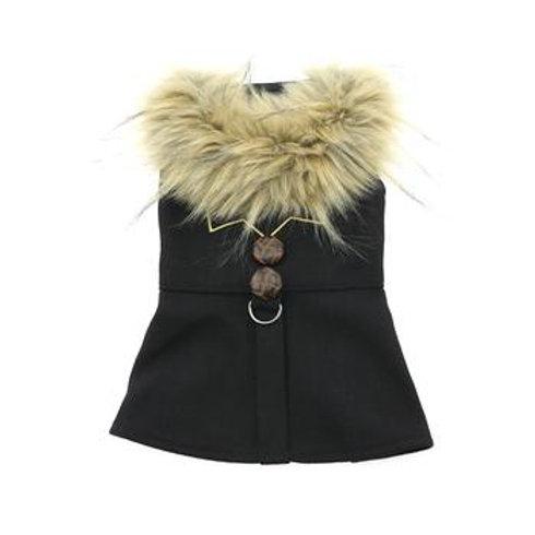 Black Wool Fur-Trimmed Dog Harness Coat - Chevron