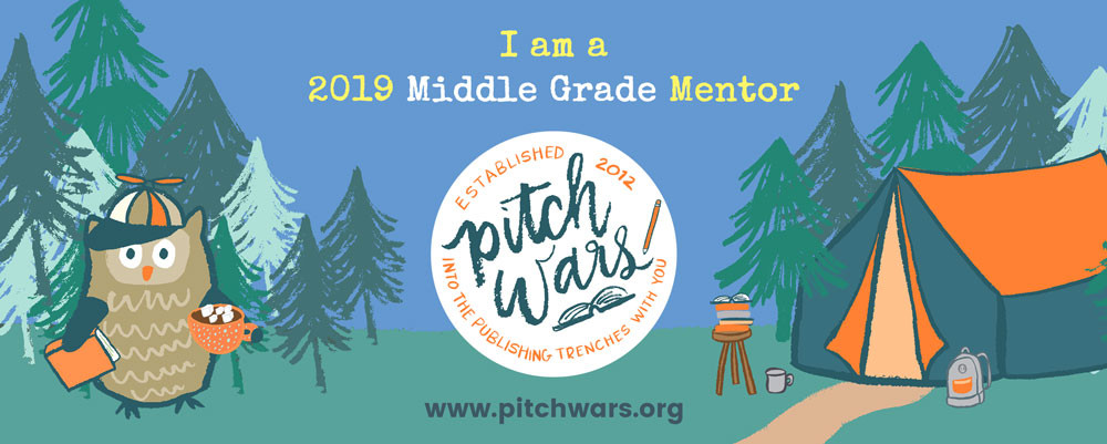 Pitch Wars 2019 Middle Grade Mentor Banner of Poe at a campsite looking confused