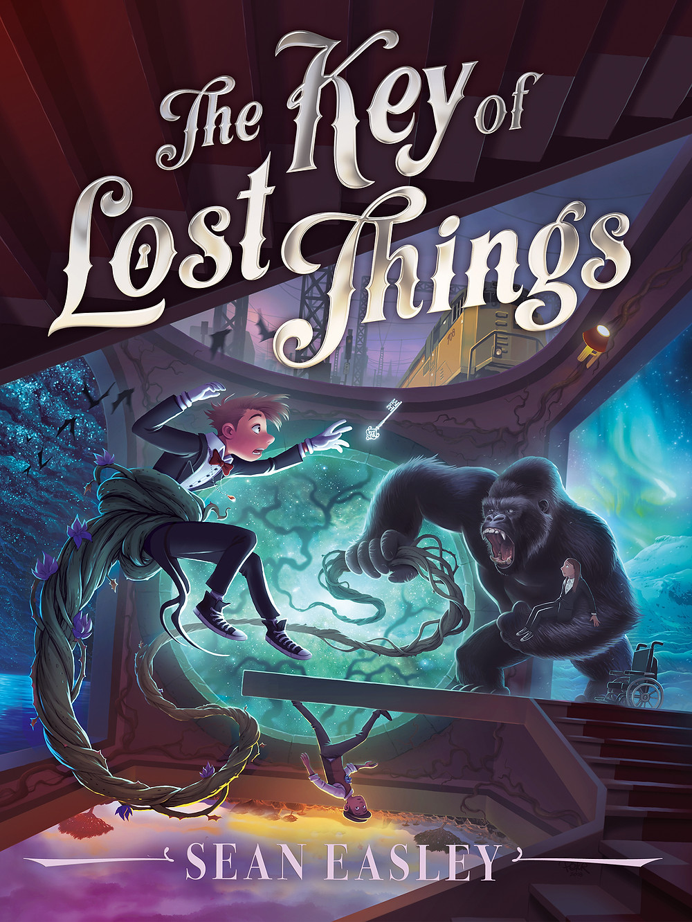 Key of Lost Things cover, with a boy reaching for a key and a gorilla who's picked a girl up out of a wheelchair and looks ferocious