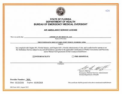 Florida Air Ambulance License Jet Rescue