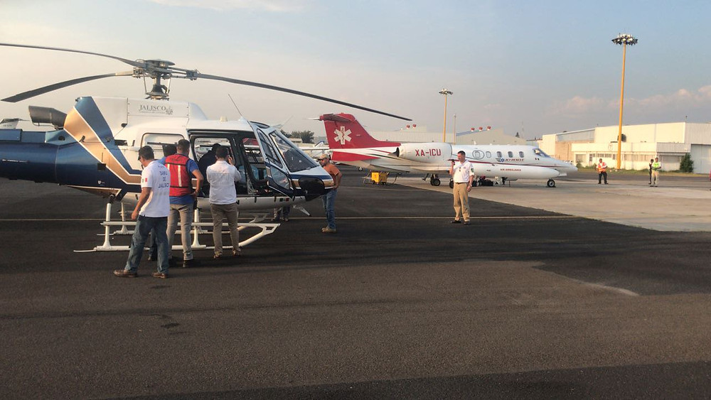 Air Ambulance  Mexico to Galveston Burned Patient