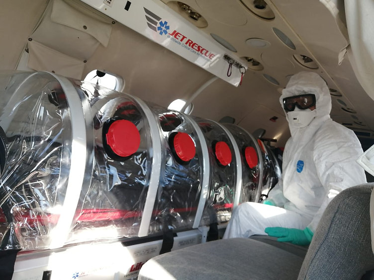 coronavirus air ambulance transport jet rescue