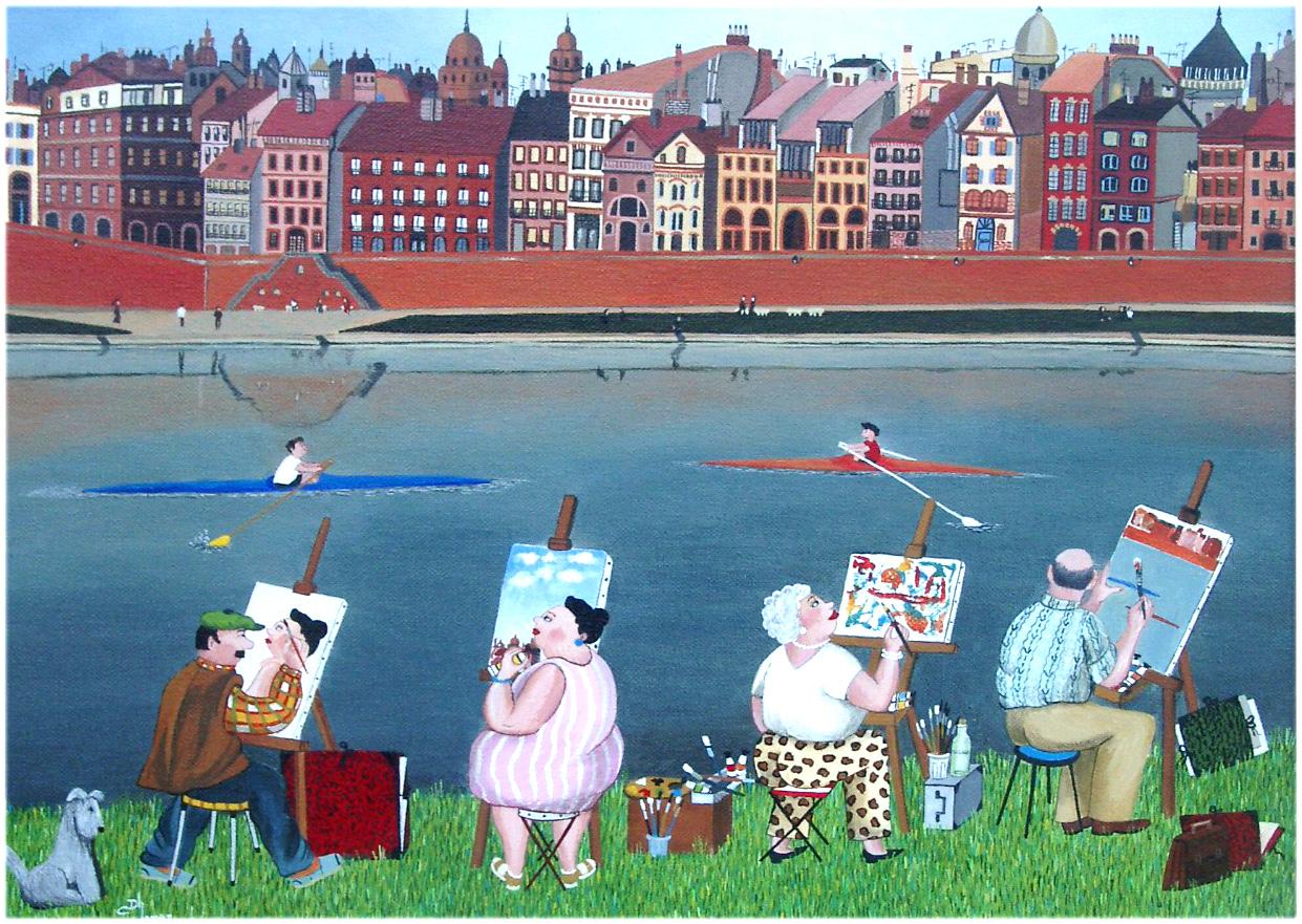 Les peintres du dimanche au bord de la Garonne