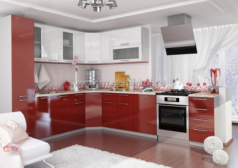 """Кухня МДФ. """"Белый/Гранат"""" 2,5*2,7м"""