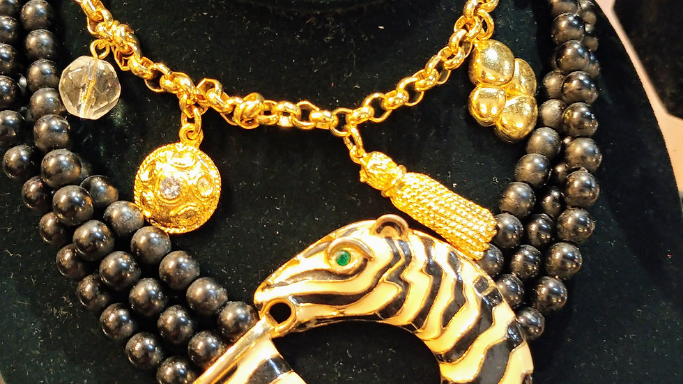 Monet Zebra Necklace choker