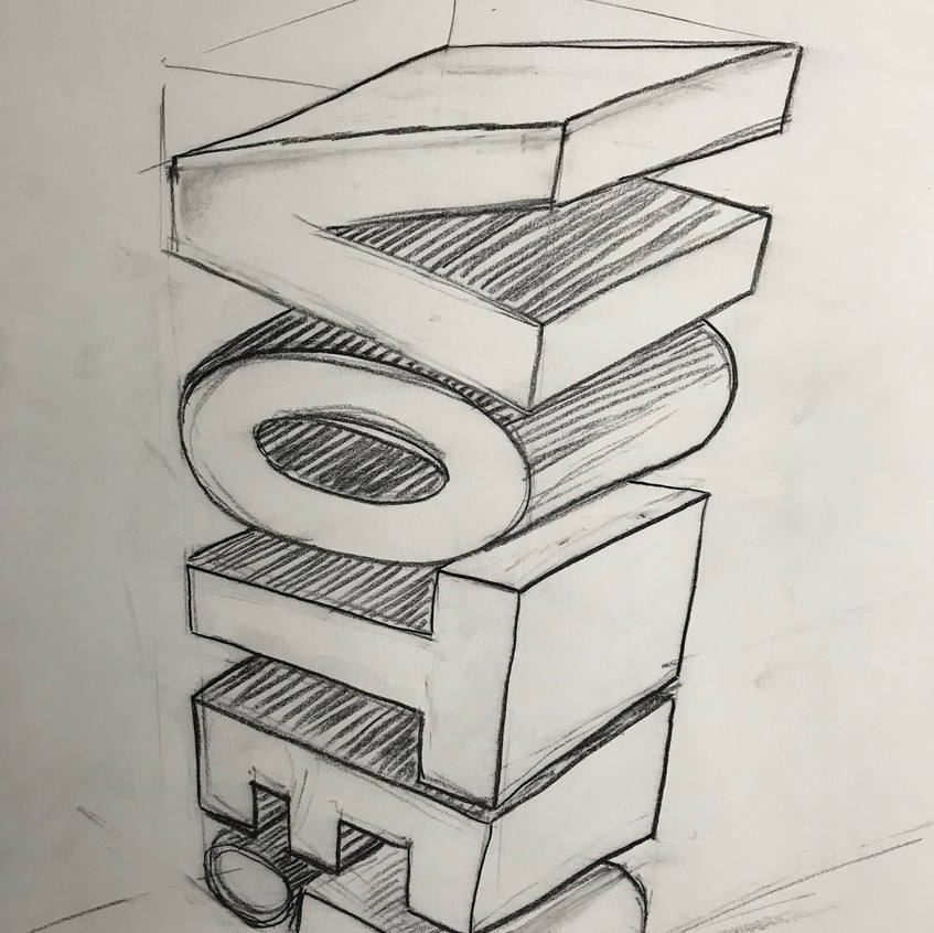 Concept drawing for sculpture