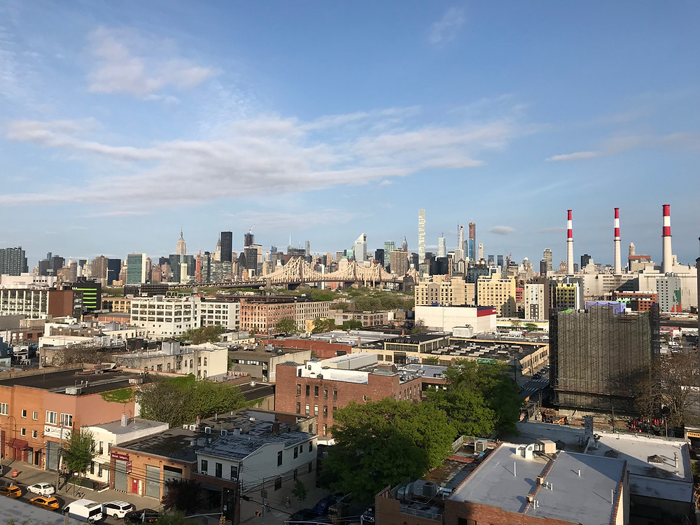 view towards mid Manhattan from the hotel we stayed at in Astoria area in Queens