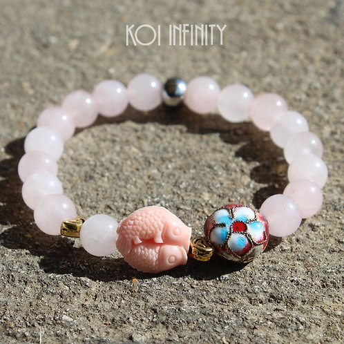 Rose Quartz Heart, and FIsh Bracelet
