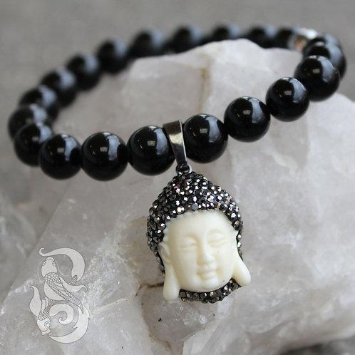 Buddha Head Obsidian Bracelet