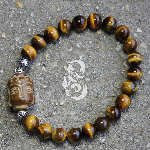 Tiger's Eye Buddha Bone Bracelet