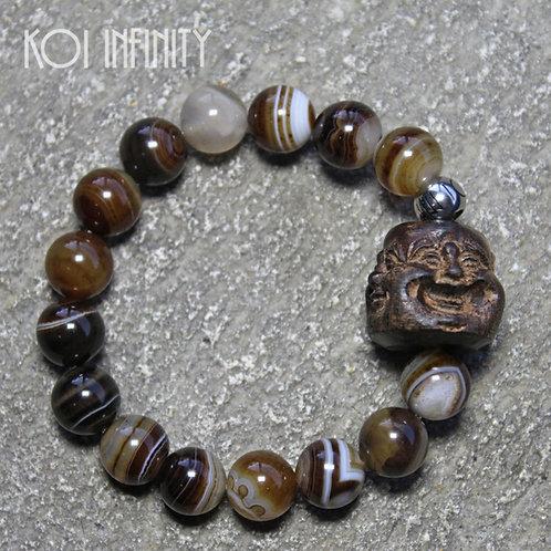 Laughing Buda Black Agate Bracelet