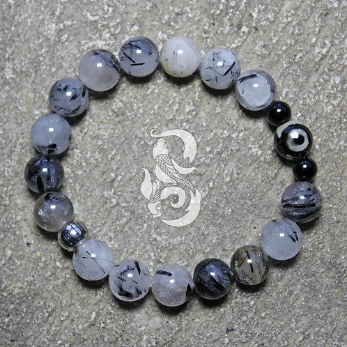 DZI Tourmilated Quartz Bracelet