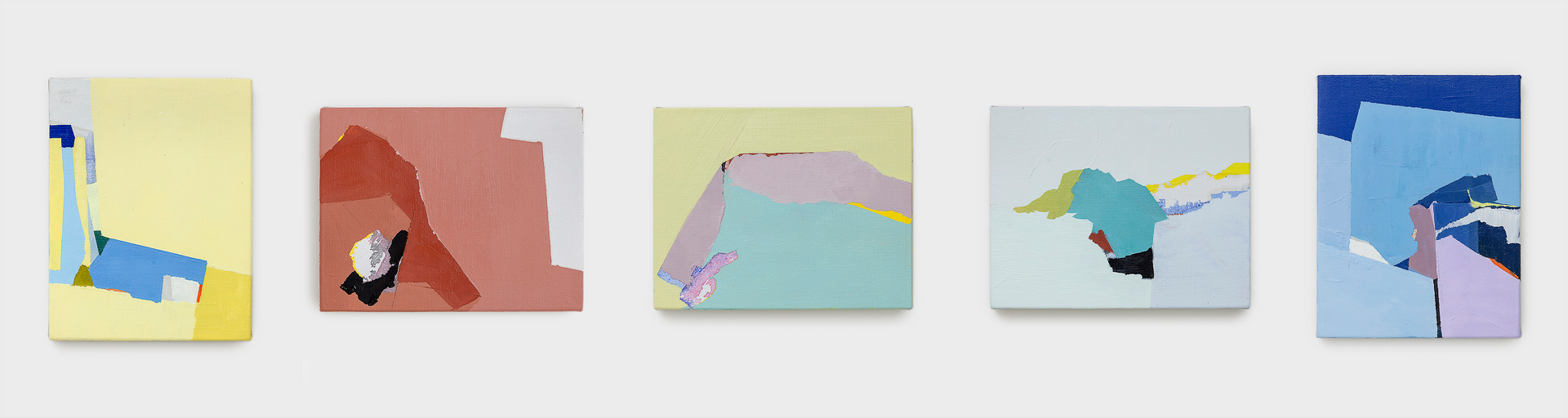 Sueli Espicalquis sem titulo, 2018, óleo e cera sobre linho, 2 de 33 x 23 cm e 3 de 23 x 33 cm untitled, 2018, oil and wax on linen, 2 of 33 x 23 cm and 3 of 23 x 33 cm