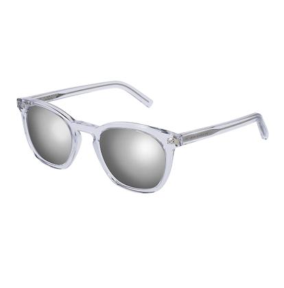 Saint Laurent Clear Silver Mirrored Sunglasses
