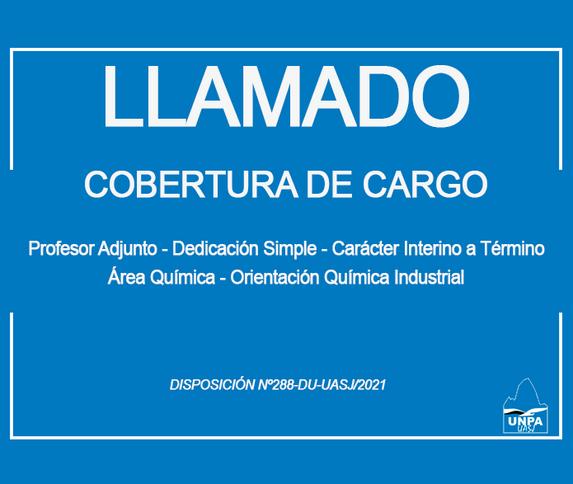 UASJ: cobertura de Cargo Profesor Adjunto-Dedicación Simple-Carácter Interino a Término,Área Química