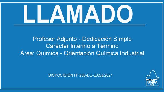 Cobertura de Cargo Profesor Adjunto - Dedicación Simple - Carácter Interino a Término -Área: Química