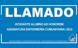 Llamado a Cobertura de Cargo - Incorporación de Ayudante Alumno Ad Honorem en la Asignatura Enfermer