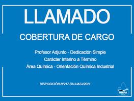 Cobertura de Cargo Profesor Adjunto-Dedicación Simple-Carácter Interino a Término - Área Química