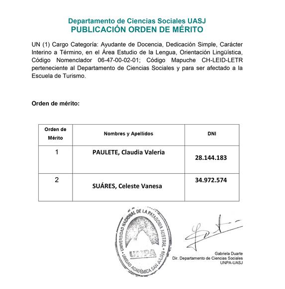 UASJ -Escuela de Turismo: Orden de Mérito Interino a Término, Área Estudio de la Lengua, Lingüística