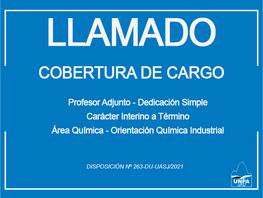 Cobertura de Cargo Profesor Adjunto - Dedicación Simple - Carácter Interino a Término, Área: Química