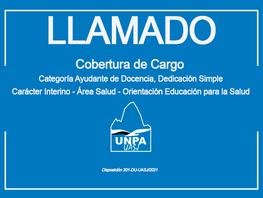 Cobertura de Cargo-Categoría Ayudante de Docencia- Dedicación Simple- Carácter Interino-Área Salud
