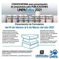 CONVOCATORIA para presentación de propuestas para PUBLICACIONES UNPAEdita 2021