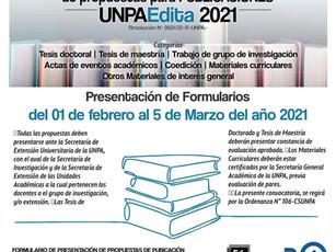 Se extendió la CONVOCATORIA para presentación de propuestas para PUBLICACIONES UNPAEdita 2021
