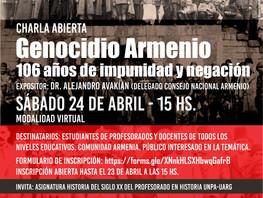 Charla abierta - Genocidio Armenio: 106 años de impunidad y negación