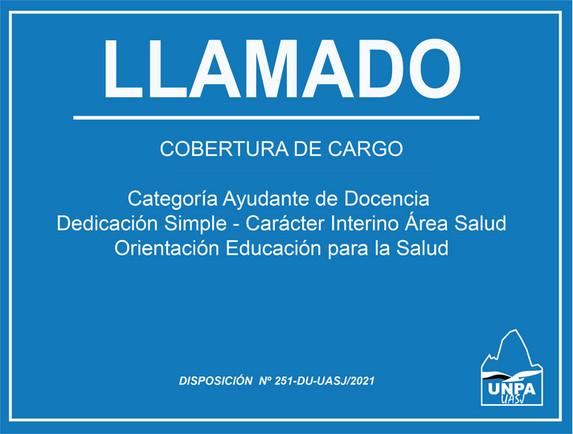 Llamado a Cobertura de Cargo | Ayudante de Docencia | Dedicación Simple | Interino | Área Salud