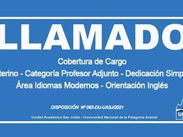Cobertura de Cargo Interino-Categoría Profesor Adjunto-Dedicación Simple- en el Área Idioma- Inglés
