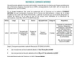Convocatoria a Concurso Planta de Administración y Apoyo: UNPA UASJ - Instancia: cerrado interno