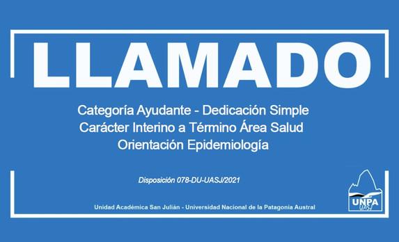 Cobertura de Cargo: Ayudante-Dedicación Simple-Carácter Interino a Término-Área Salud-Epidemiología