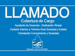 Cobertura de Cargo: Ayudante de Docencia-Dedicación Simple-Interino a Término Área Sociedad y Estado