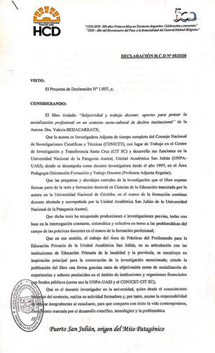 Libro de la Dra. Valeria Bedacarratx - Declaración de Interés Municipal -