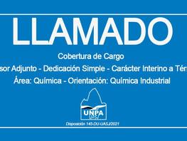 Cobertura de Cargo: Profesor Adjunto-Dedicación Simple-Carácter Interino a Término-Área Química
