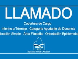 Cobertura de Cargo: Interino a término - Ayudante de Docencia - Dedicación Simple - Área Filosofía