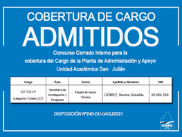Admisión en el Concurso Cerrado Interno   Cargo de la Planta de Administración y Apoyo