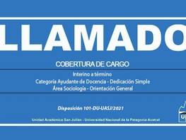 Llamado a Cobertura de Cargo Interino a término - Ayudante de Docencia - Sociología
