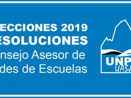 Elecciones 2019 - Resolución Consejo Asesor de Sedes de Escuelas