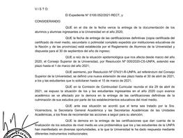 Reglamento de Alumnos Resolución por demoras en la entrega de certificaciones