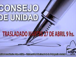Consejo de Unidad - Trasladado al martes 27 de abril a las 9.00 hs