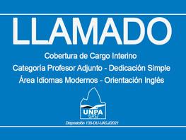 Cargo Interino Categoría Profesor Adjunto - Dedicación Simple Área Idiomas Modernos - Inglés