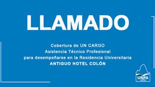 "Llamado a Inscripción - Residencia Universitaria ""Antiguo Hotel Colón"""