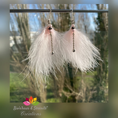 Boucles d'oreille plumes et perles