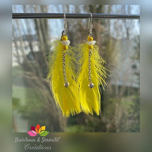 Boucles d'oreille plumes et chaînette