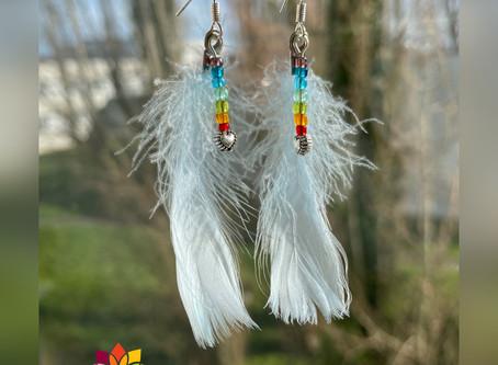 """✨ Boucles d'oreille collection Plumes """"Cœur de chakra"""" 💙"""