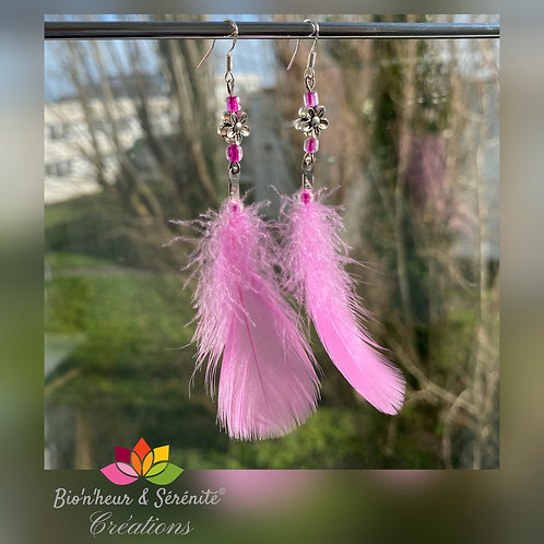 Boucles d'oreille plumes et fleurs