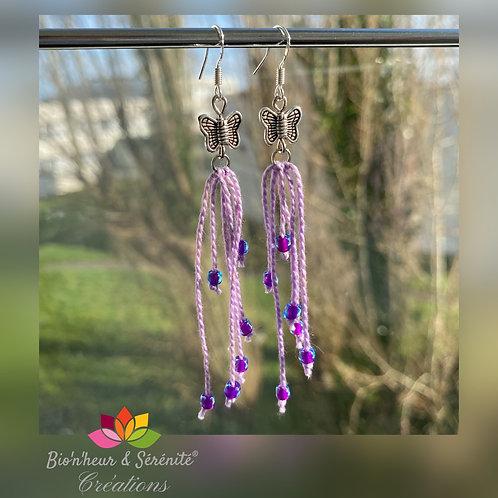 Boucles d'oreille papillons, fils et perles