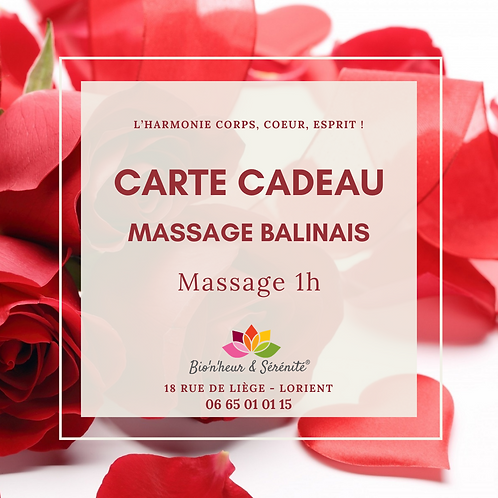 Carte cadeau - Massage balinais 1H