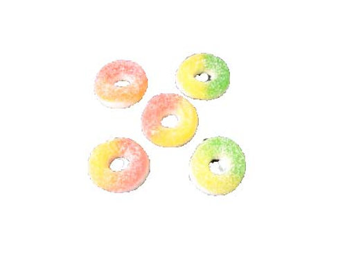 Mixed flavour ring gummy with caster sugar